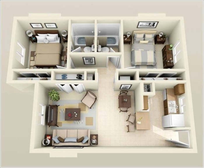 Mẫu thiết kế căn hộ chung cư 60m2, 2 phòng ngủ