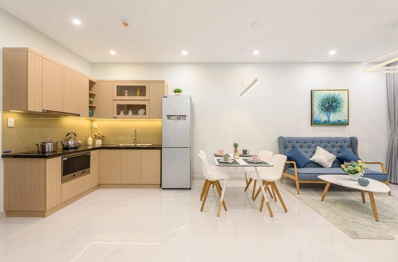 Thiết kế phòng bếp chung cư 2 phòng ngủ