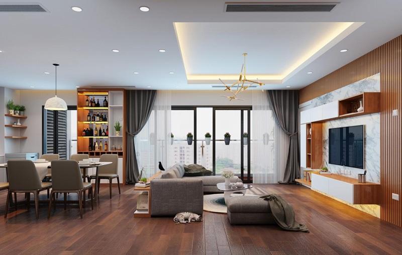 Thiết kế phòng khách chung cư 2 phòng ngủ