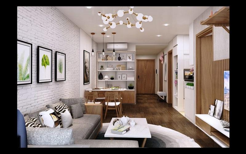 Mẫu thiết kế chung cư 70m2 2 phòng ngủ đẹp