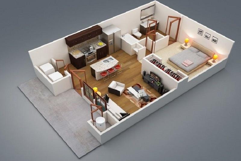 căn hộ chung cư 1 phòng ngủ với thiết kế mở