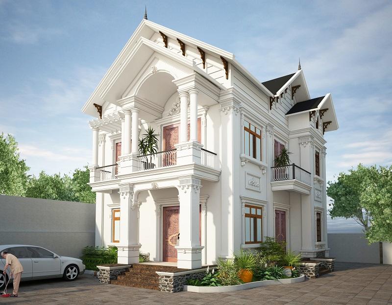 Màu sắc cho thiết kế biệt thự hai tầng mái thái tân cổ điển