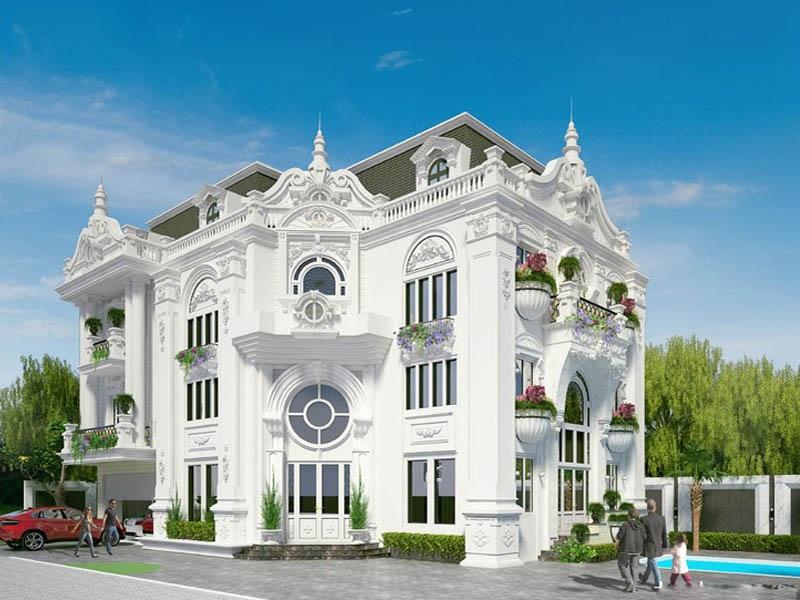 Mẫu thiết kế biệt thự ba tầng cổ điển