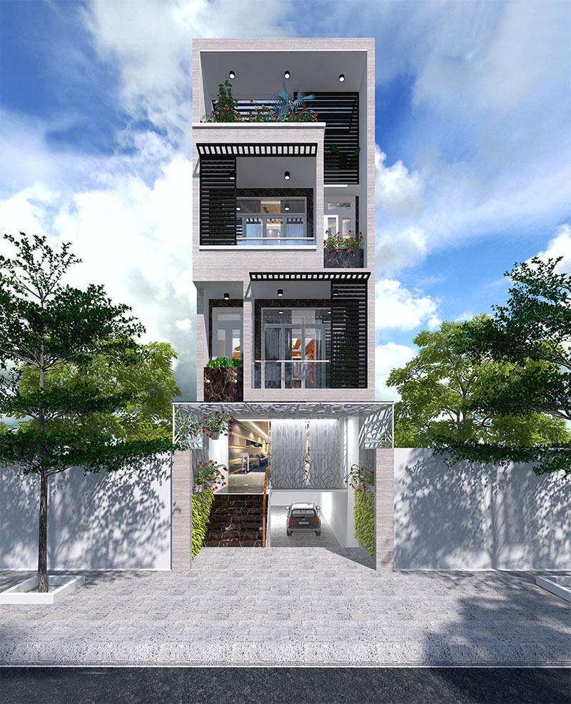 Nhà phố có diện tích nhỏ theo phong cách hiện đại có gara ô tô trong nhà