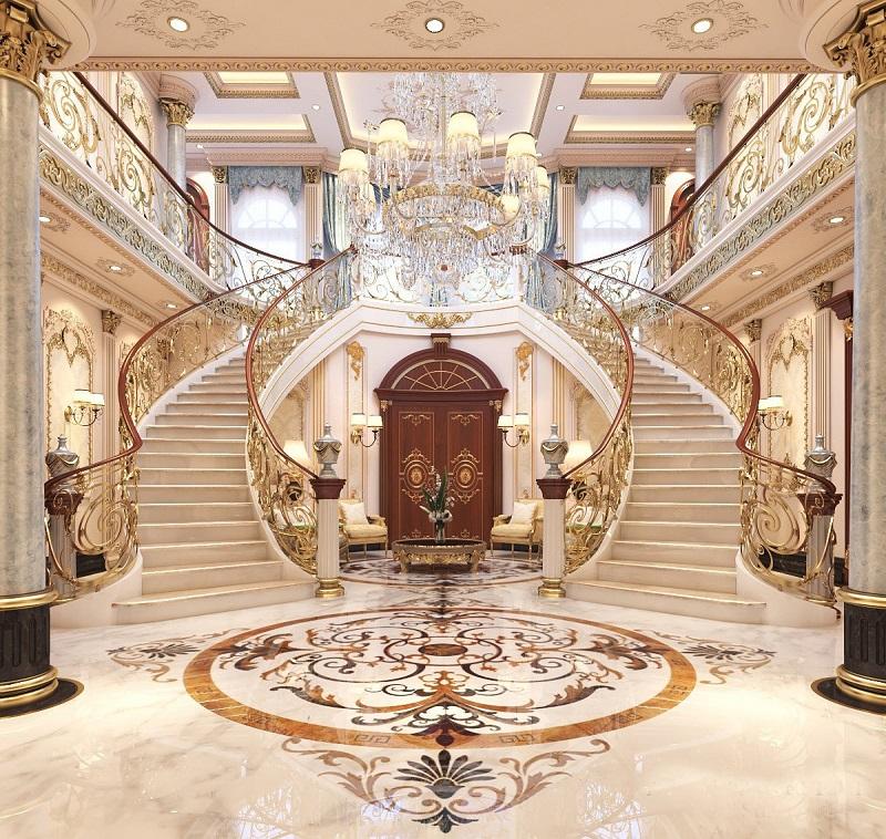 Cầu thang cho thiết kế biệt thự ba tầng cổ điển