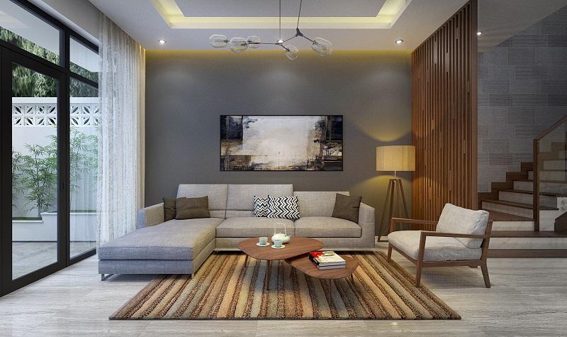 Phòng khách cho nhà phố ba tầng hiện đại