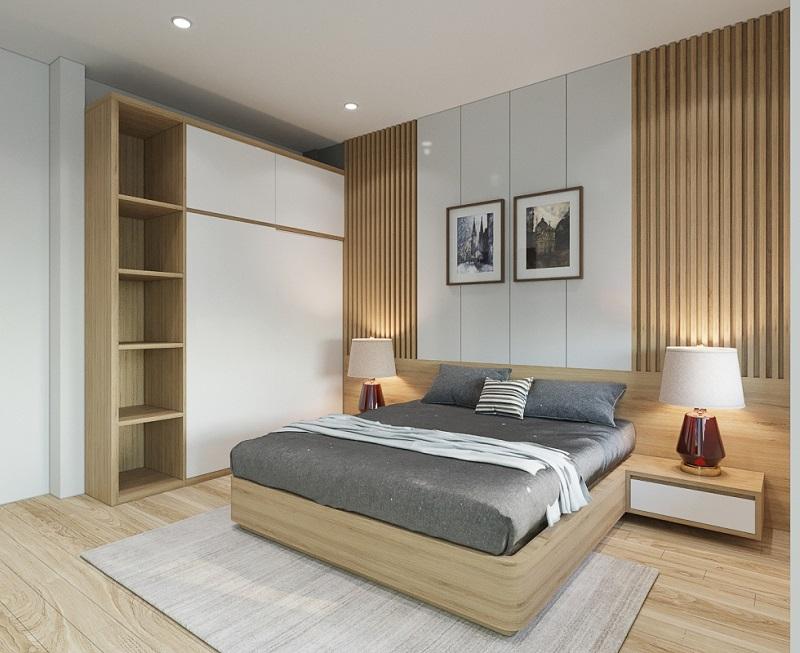 Phòng ngủ cho nhà phố ba tầng hiện đại