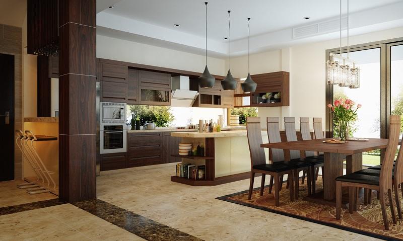 Phòng bếp biệt thự không gian mở