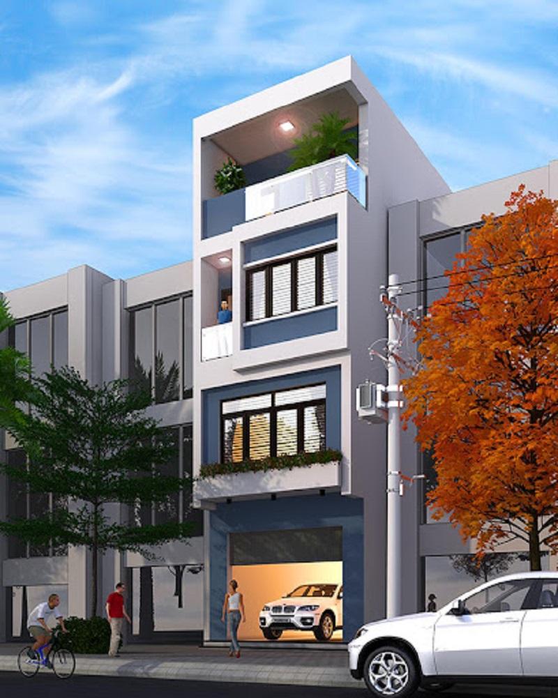 Nhà phố 4 tầng hiện đại với mặt tiền 4m