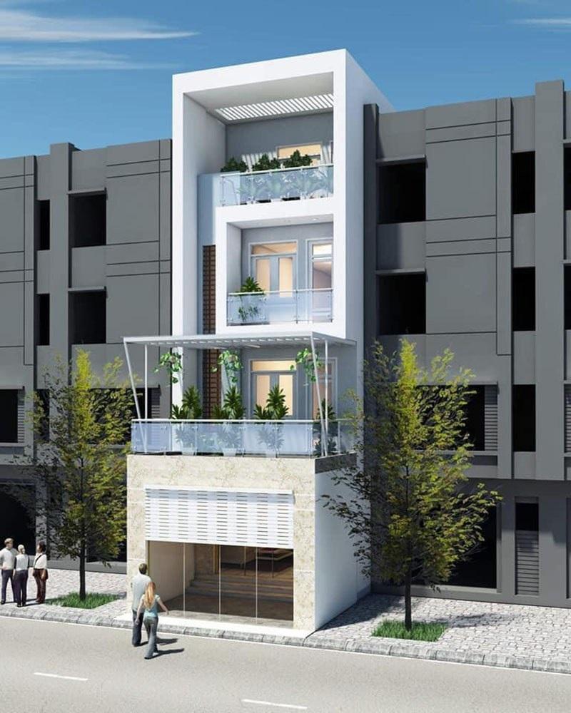 Nhà phố 4 tầng hiện đại có sân thượng